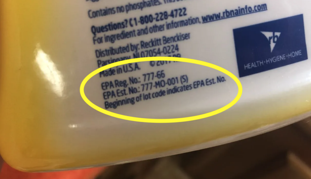 EPA registration numbers