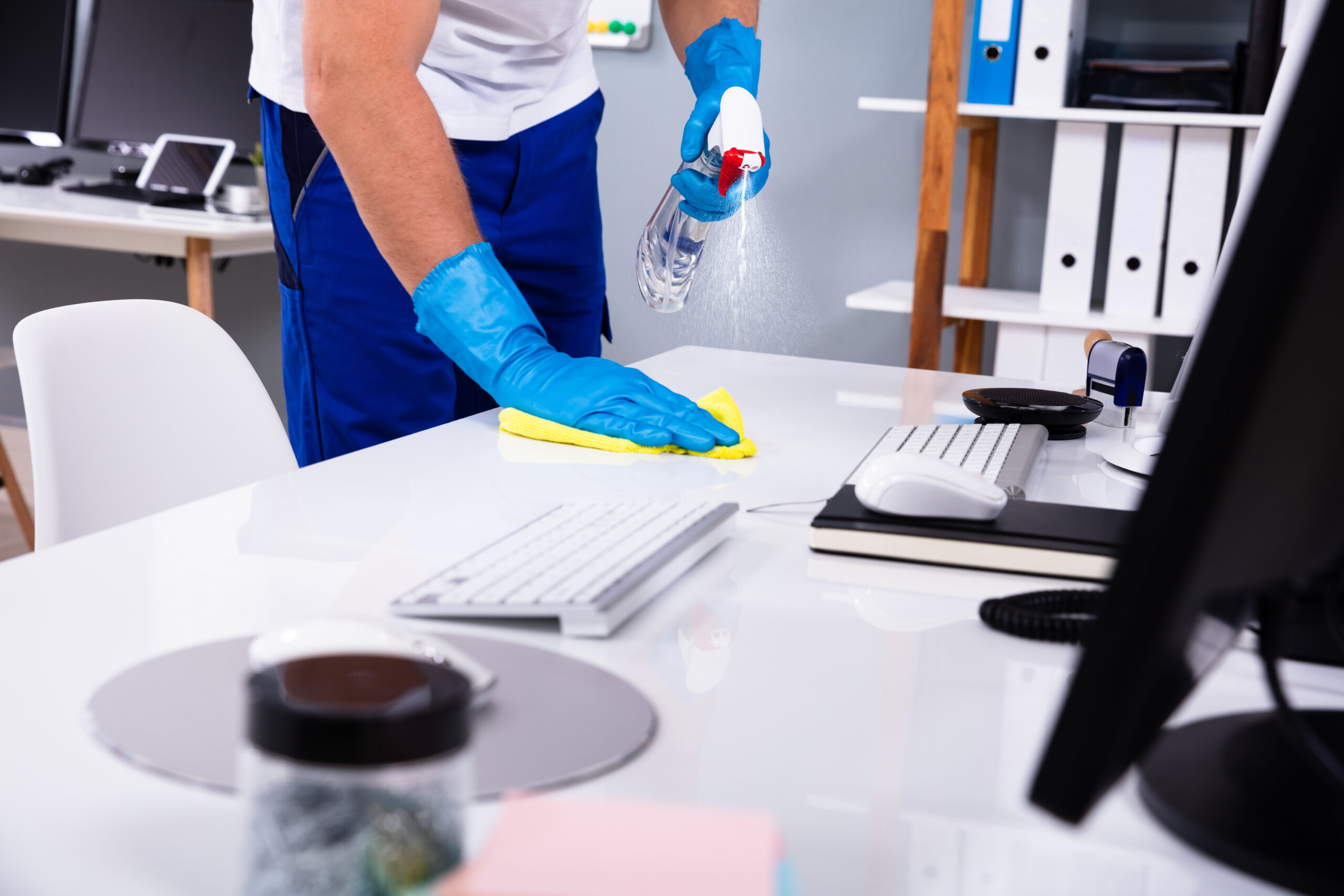 professional office cleaners cleaning on office workspace in San Francisco
